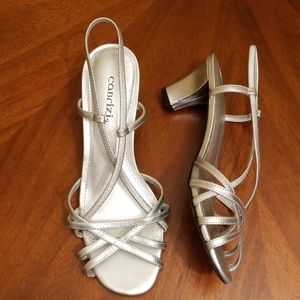 Cabrizi Festive criss cross silver 2.5 inch heel